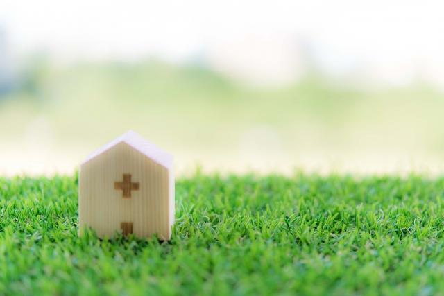 木の病院と芝生