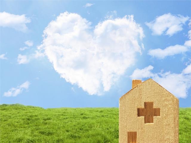 ハートの雲と病院